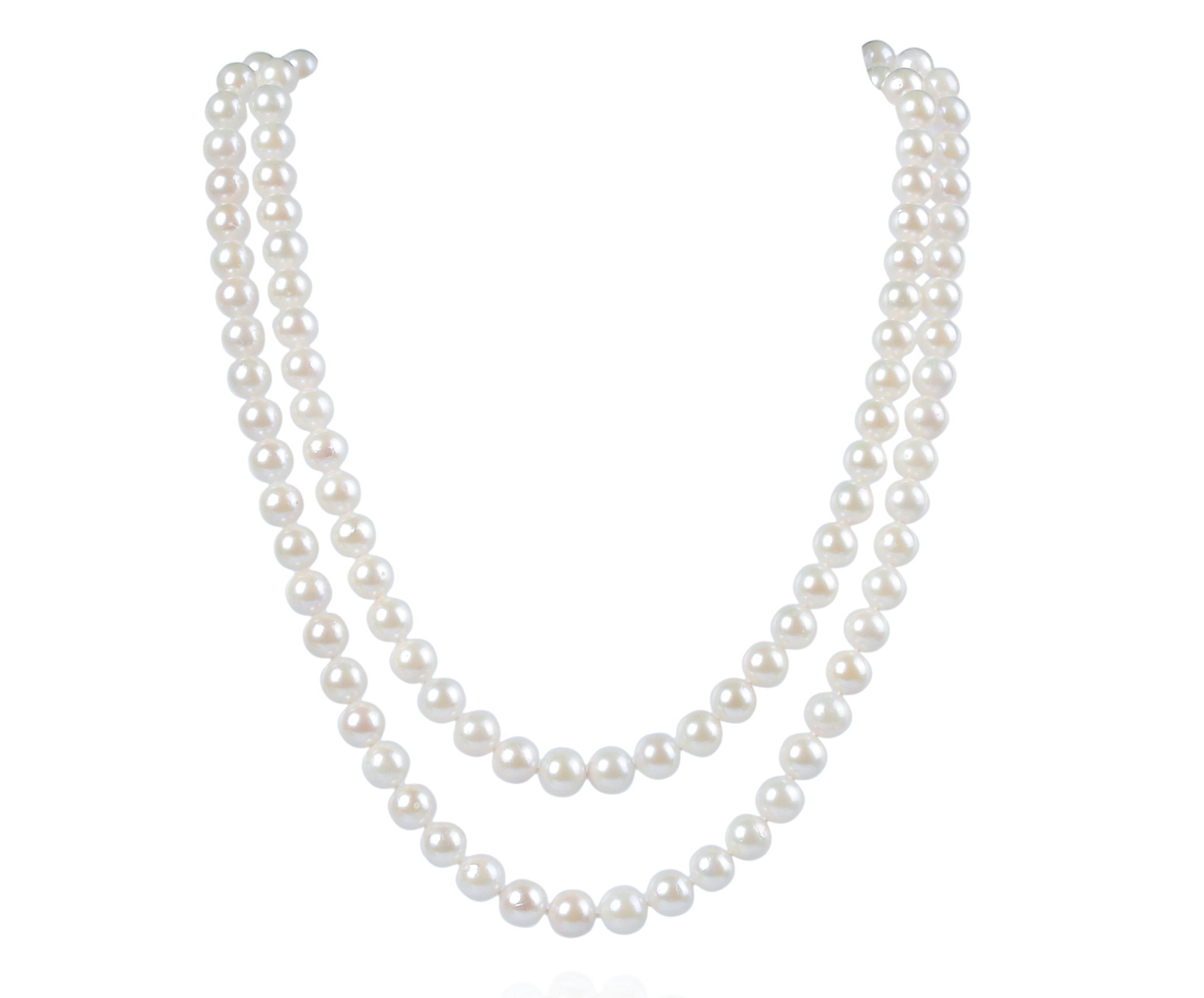 7.5mm Two Strand AAA- White Cultured Akoya Pearl Necklace -nk122