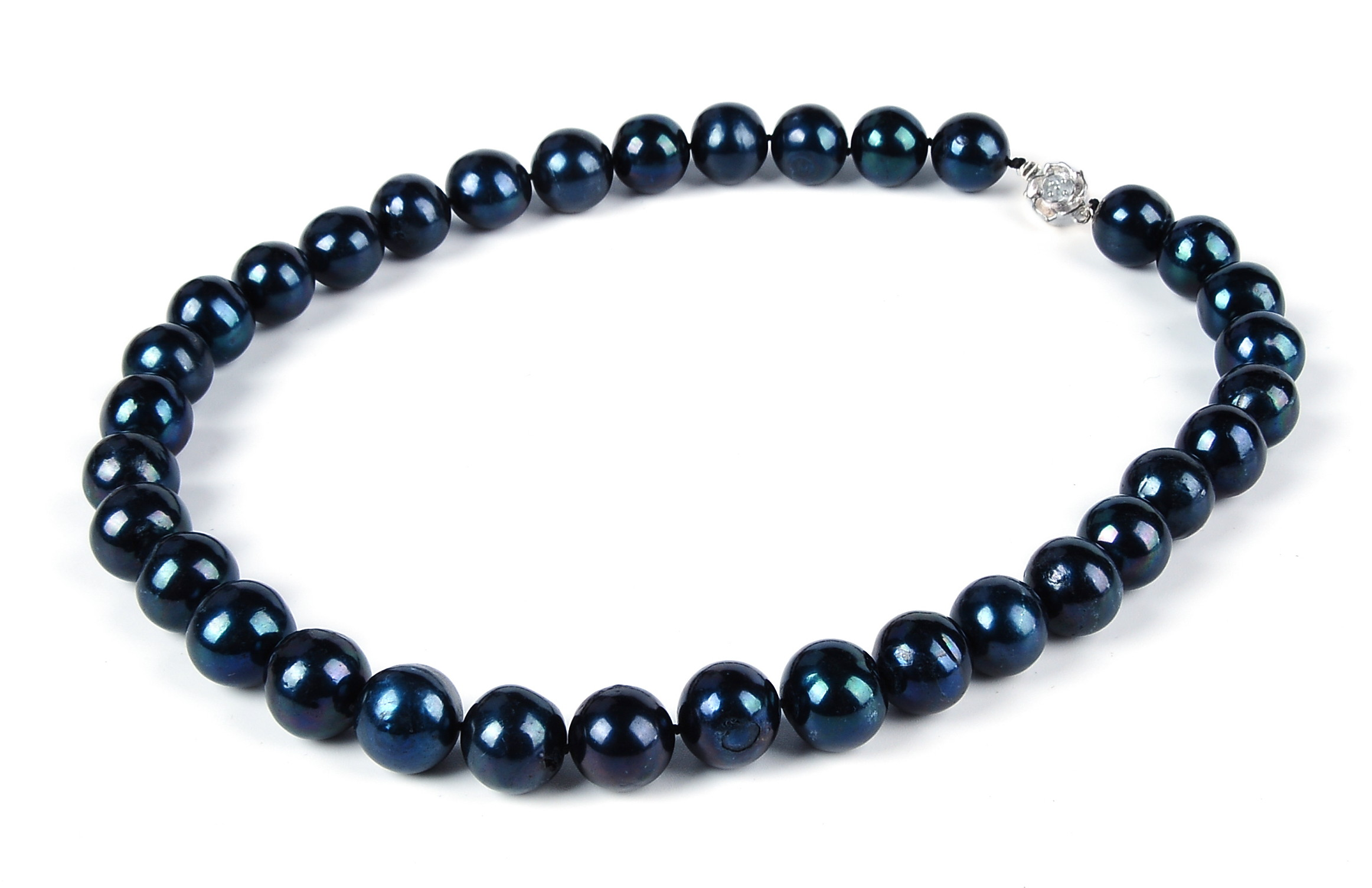 Huge 14mm AA Lustrous Pure Black Freshwater Pearl Necklace -nk262