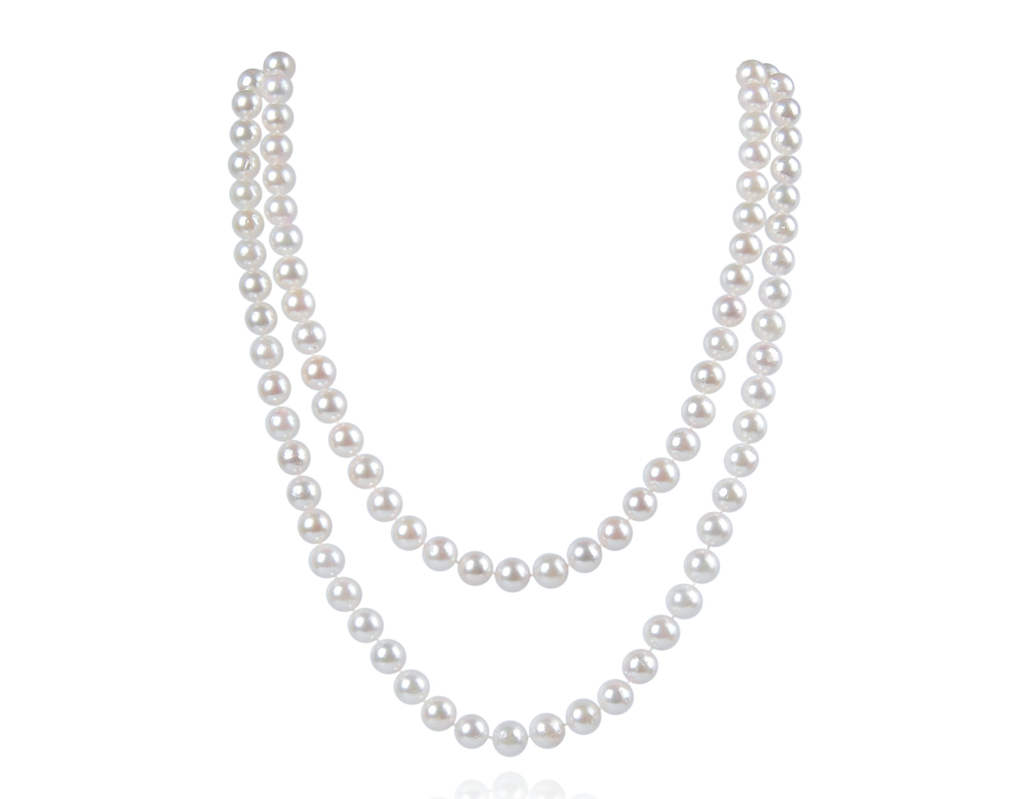 """30/"""" Inch LONG Genuine 7-8mm White Pearl Strand Necklace Cultured Freshwater"""