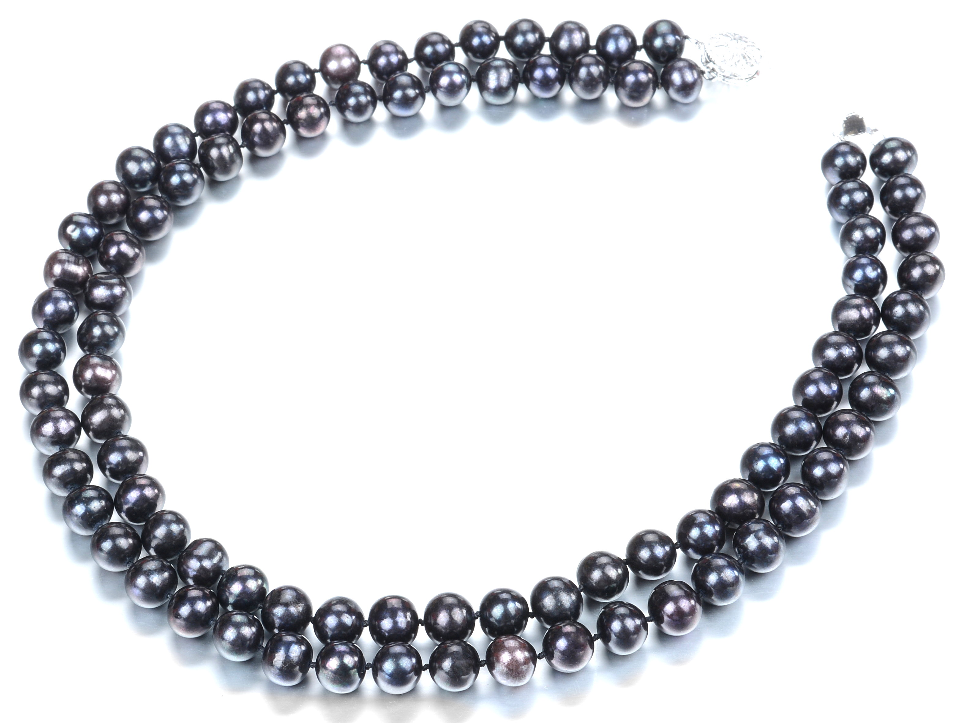 Two Strand 9.5 mm AAA Lustrous Pure Black Freshwater Pearl Necklace -nk283