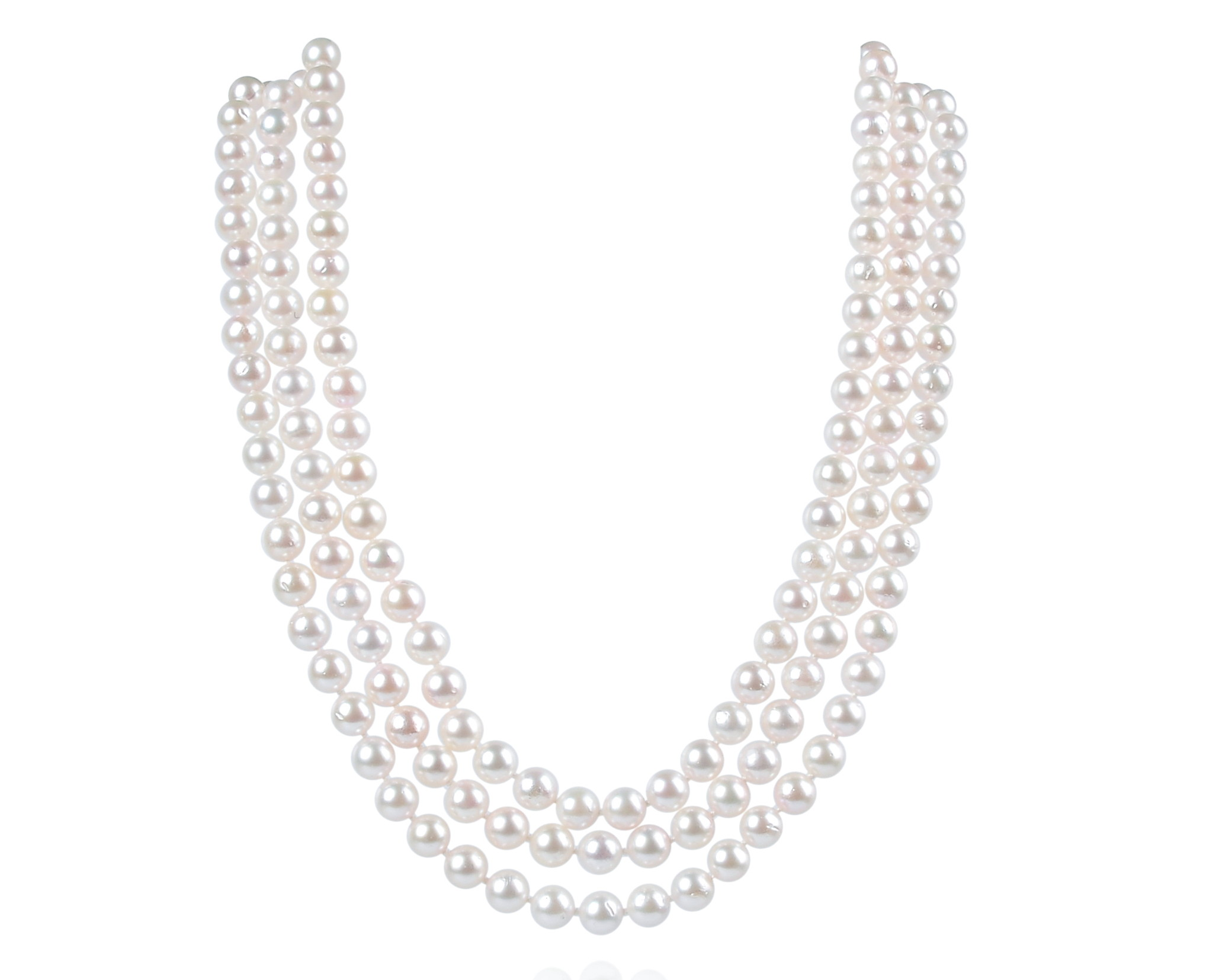 Three Strand AAA- 7mm White Cultured Akoya Pearl Necklace 925 sterling silver clasp -nk35