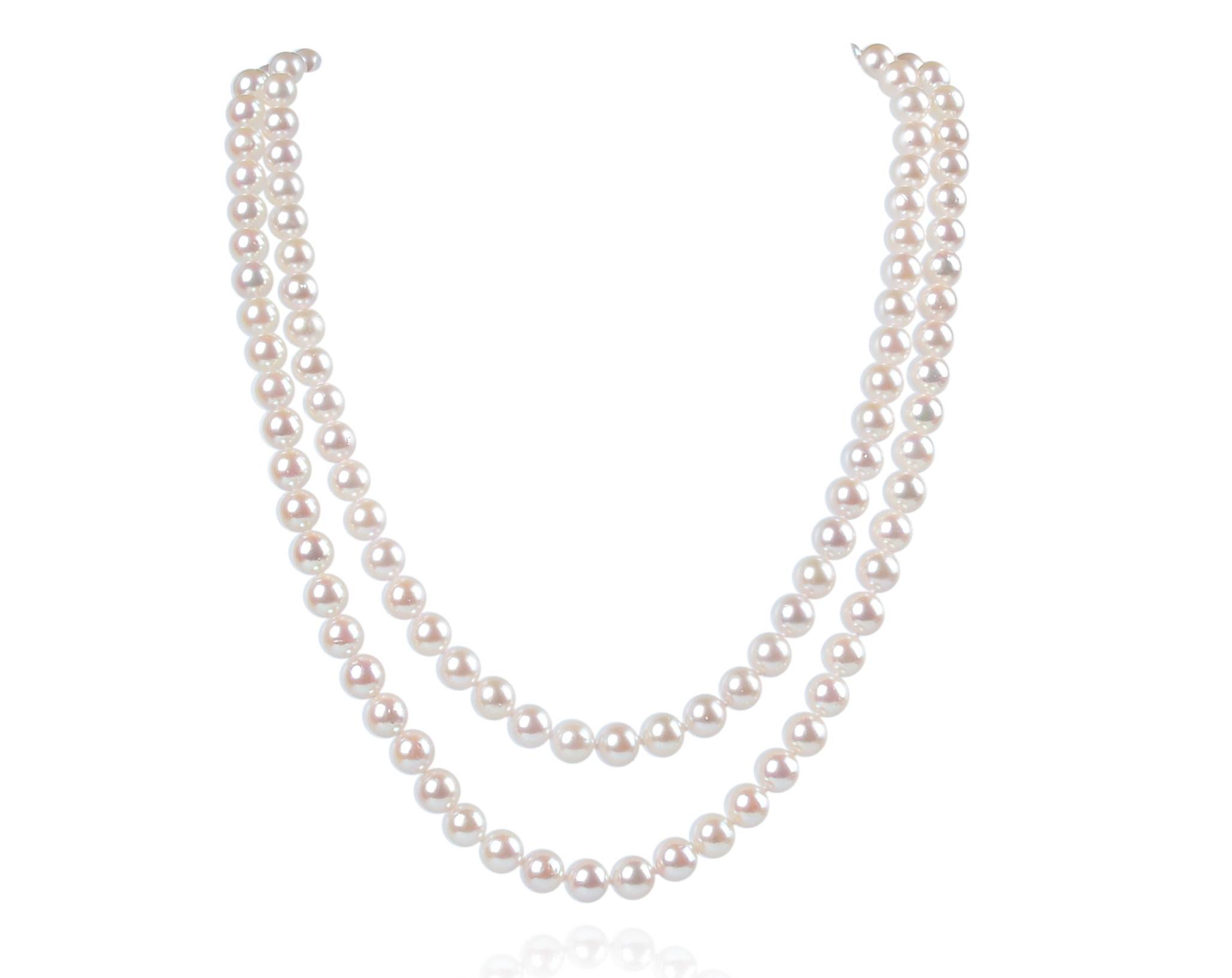 2 Strand AAA White Cultured Akoya Pearl Necklace -nk37