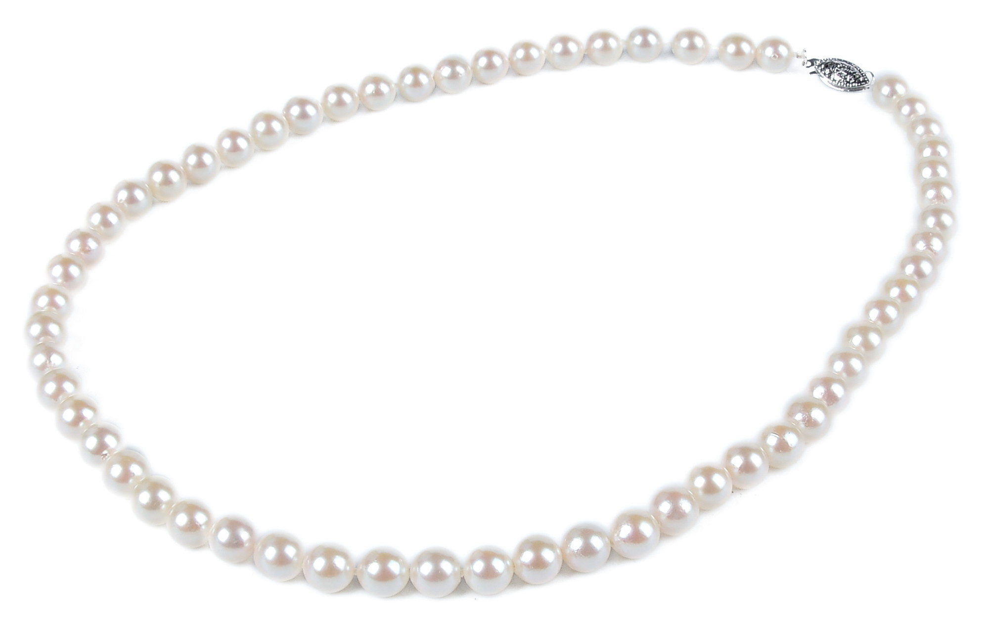7mm AAA+ Gem Quality Akoya White Pearl Necklace -nk52