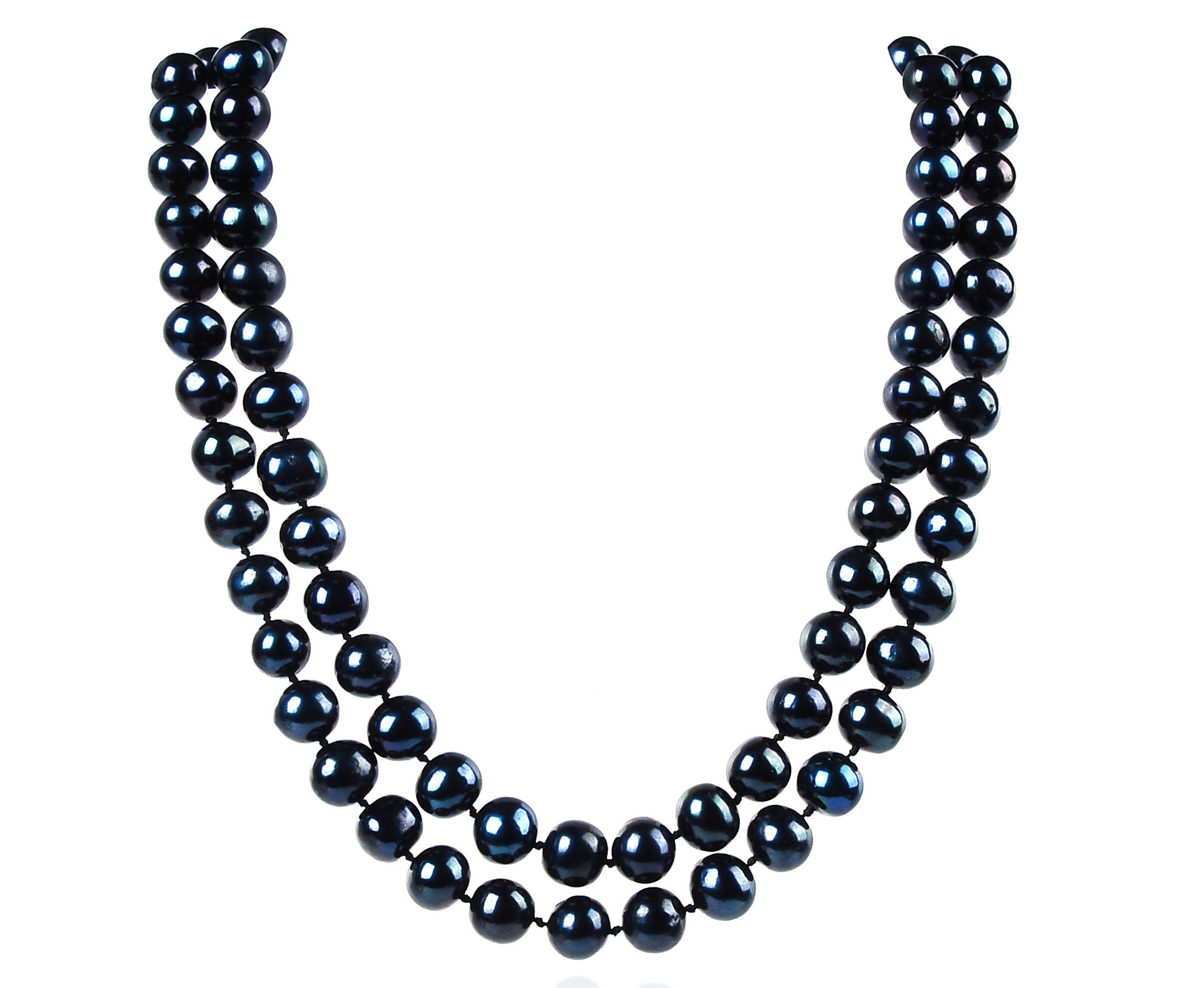 Double Strand 9.5 mm AAA- Lustrous Pure Black Freshwater Pearl Necklace -nk54