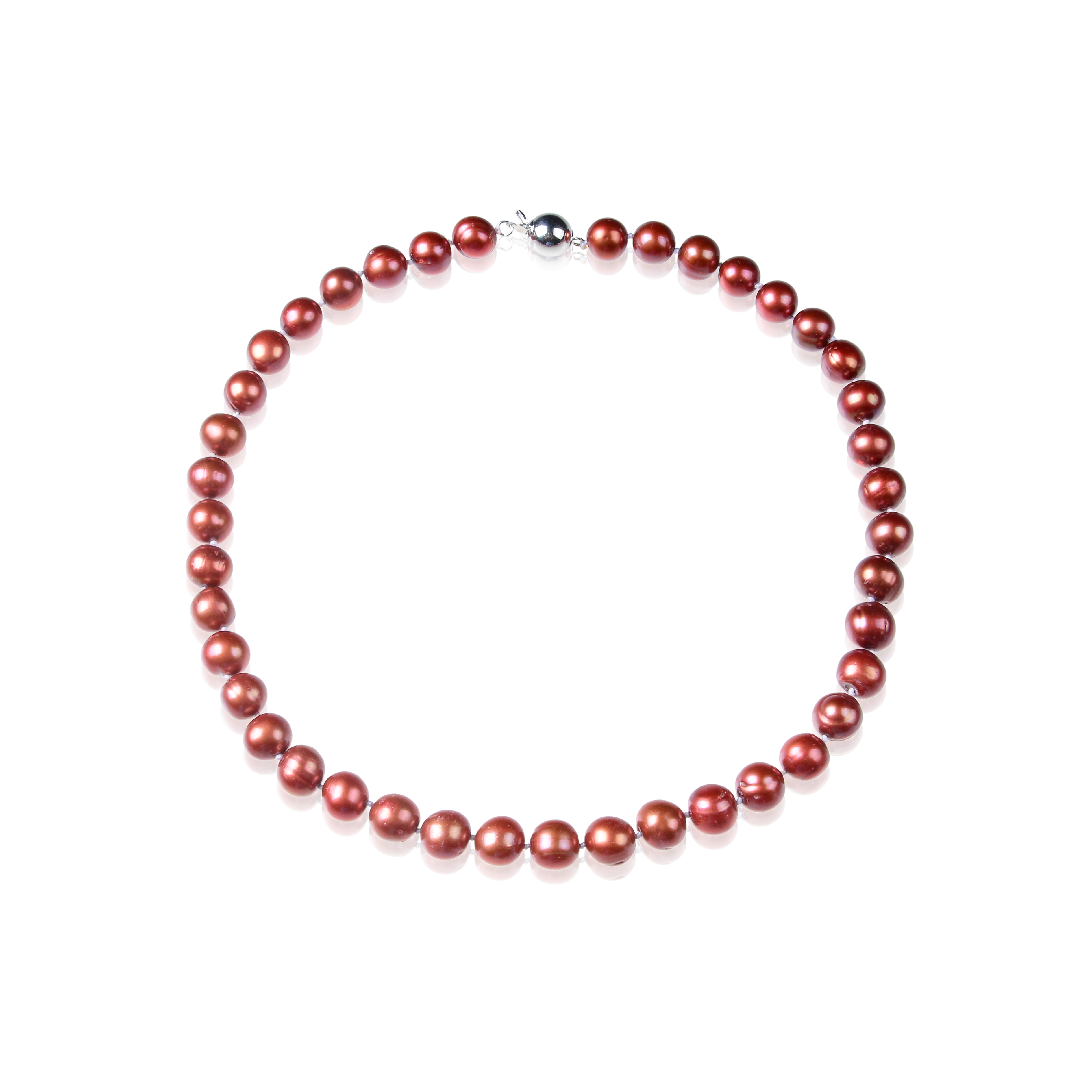 Huge 11mm AAA- Lustrous Freshwater Cultured Cranberry Pearl Necklace -nk64