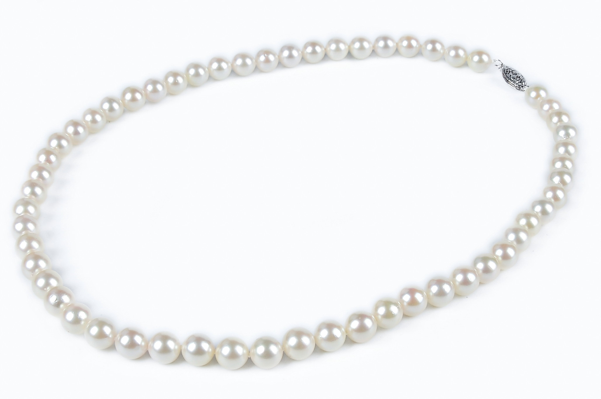 7mm AAA White Saltwater Akoya Cultured Pearl Strand Necklace - 14K Gold Filigree Fish Clasp Certified SKU#: nk271