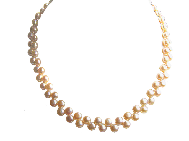 AAA Pink Two Row Freshwater Pearl Choker Necklace -nk70-P