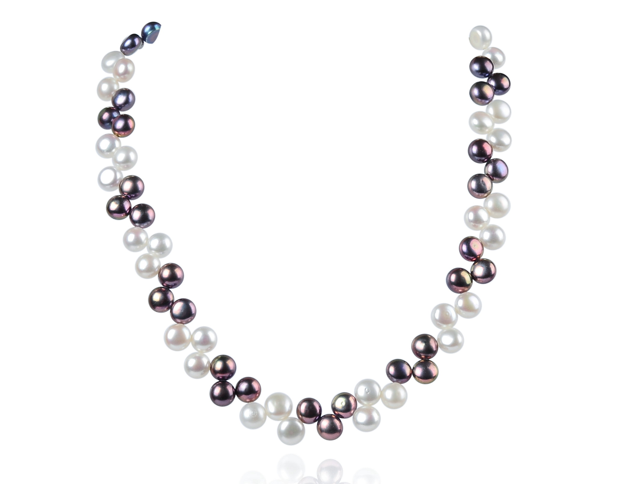 Two Row AAA Wired Black White Coin Pearl Necklace Sku#: nk75