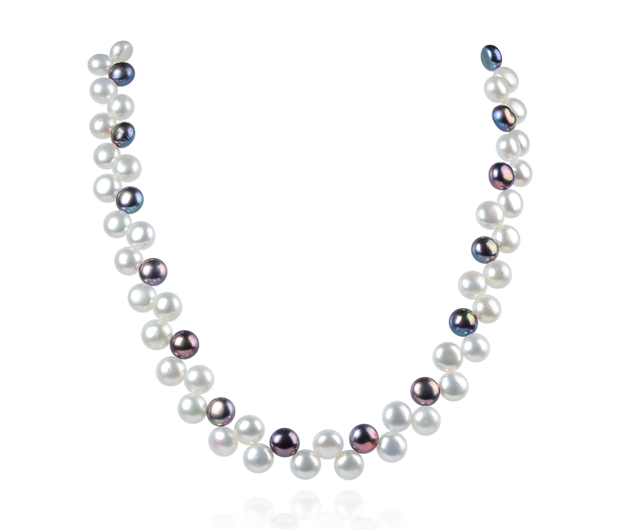 Two Row AAA Wired Gray White Half Round Pearl Necklace Sku#: nk76