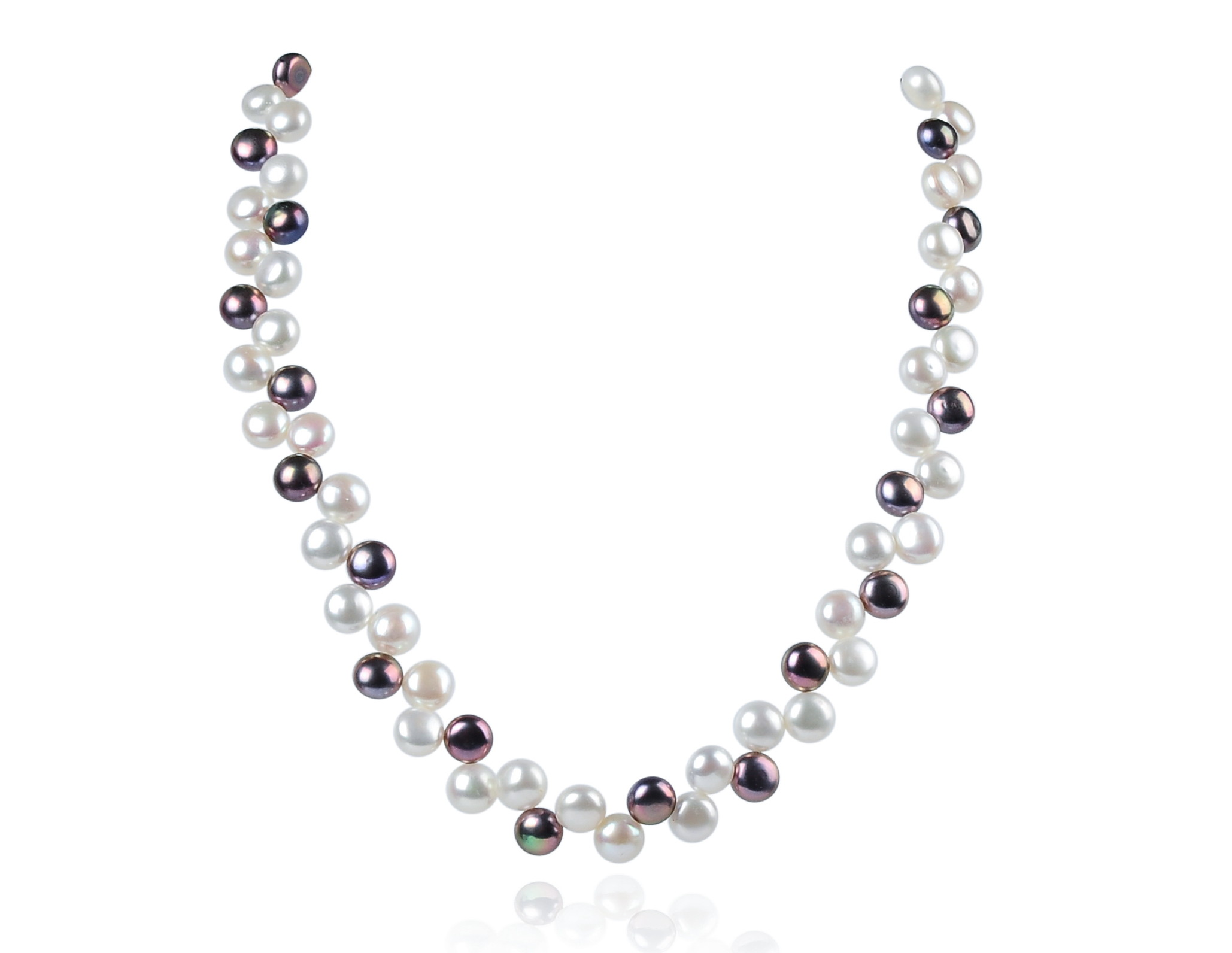 Two Row AAA Wired Gray White Semi-round Pearl Necklace Sku#: nk77