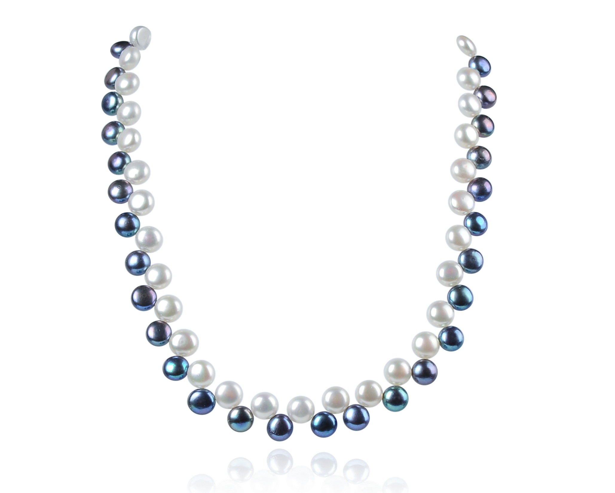Two Row AAA Wired Gray White Semi-round Pearl Necklace Sku#: nk78