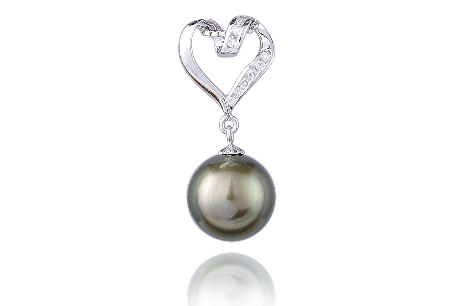 11.8mm AAA+ Black Tahitian Pearl Diamond Pendant -pn9