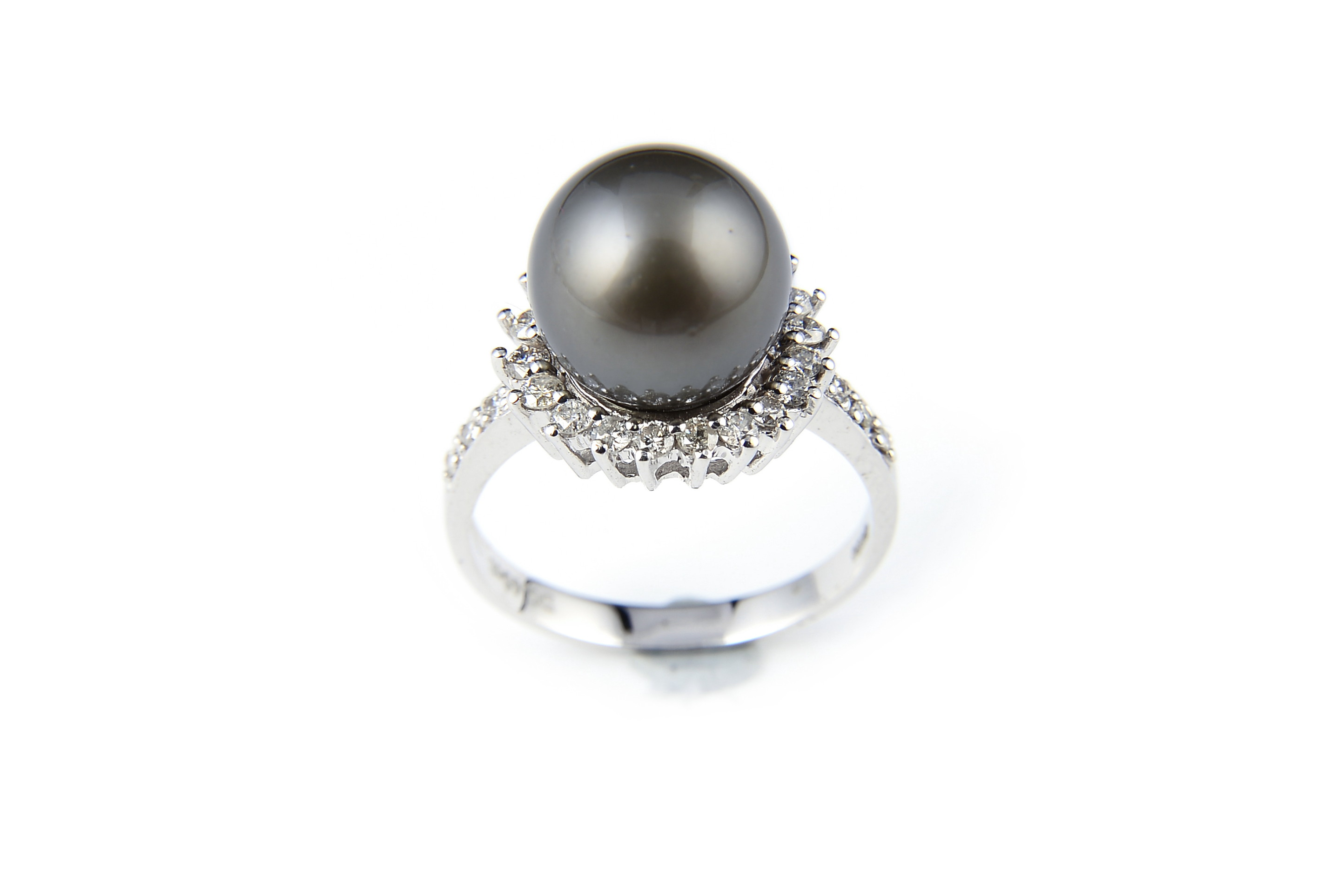 AAA+ Gem Quality Black Tahitian Pearl Diamond Ring -rg1