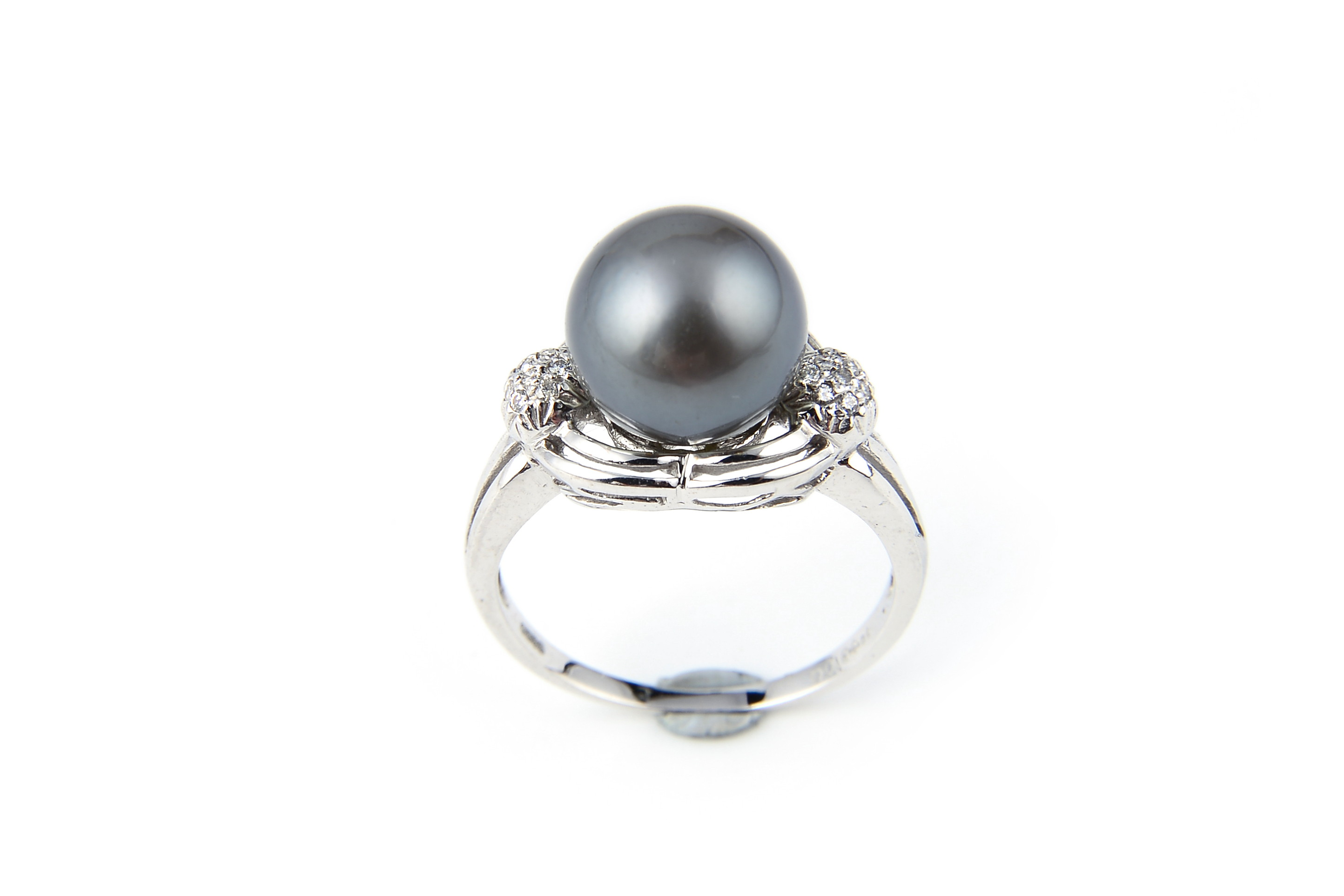 AAA+ Gem Quality Black Tahitian Pearl Ring W/ Diamonds -rg2