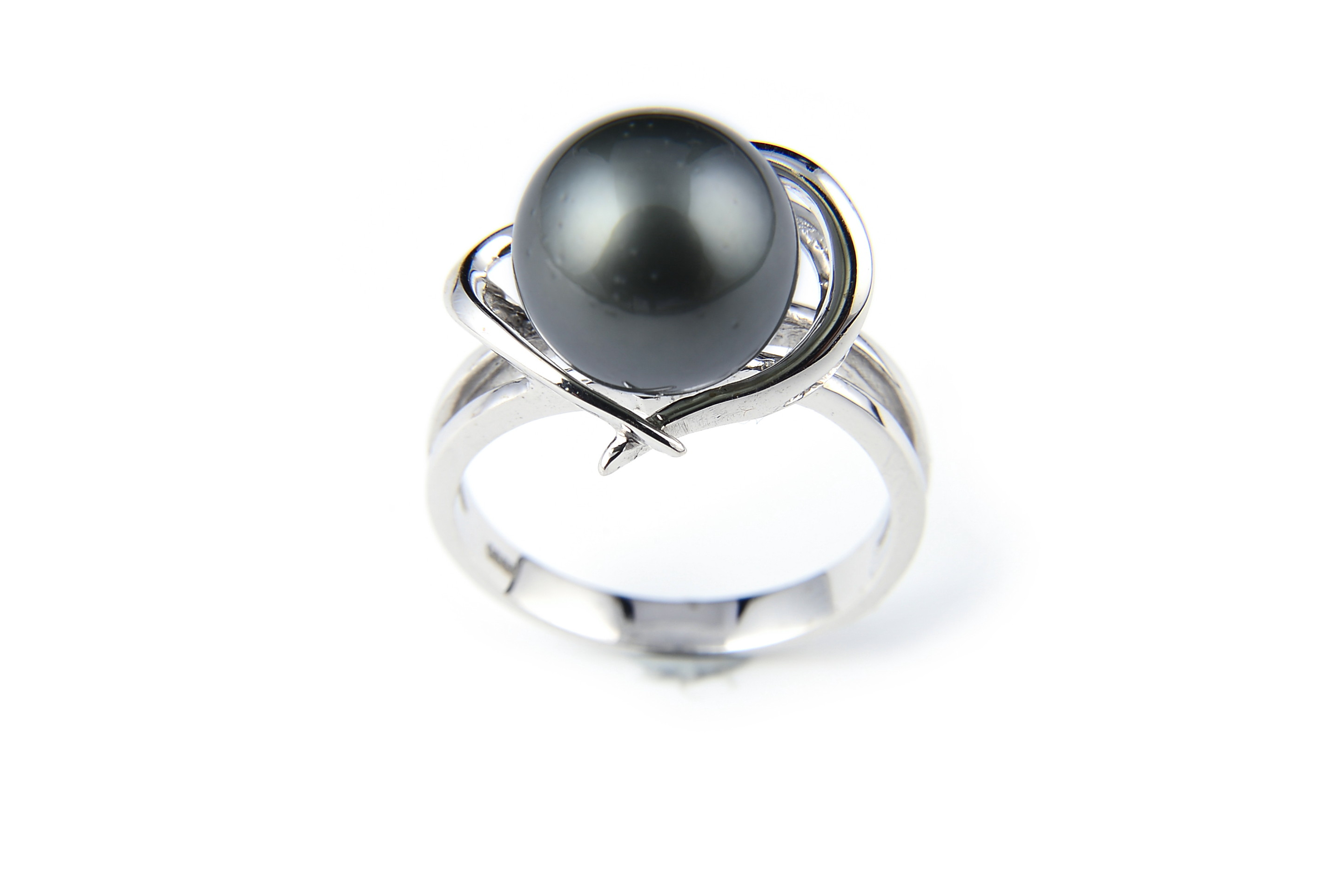 10.7mm AAA Black Tahitian Pearl Heart Ring -rg4