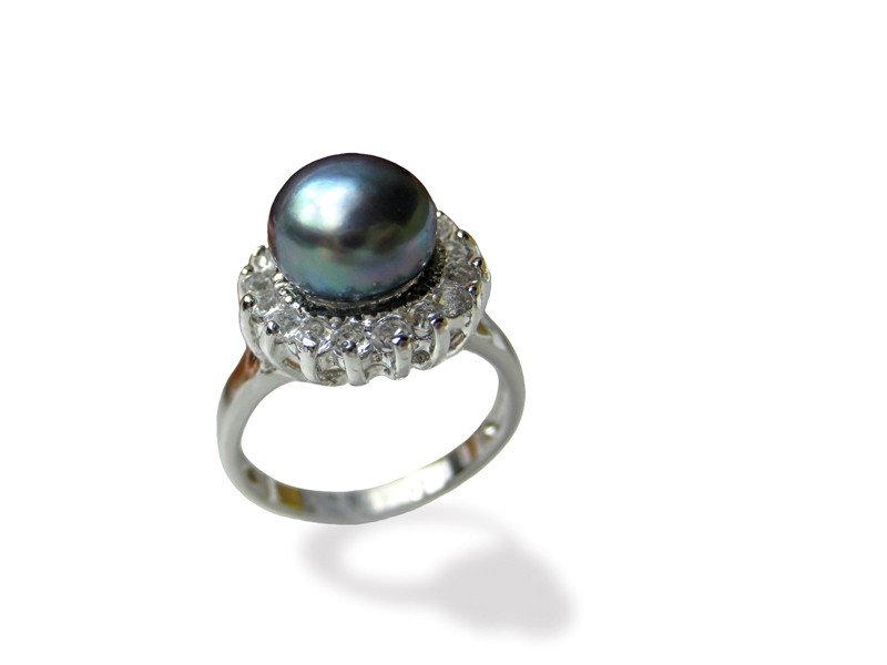 10 mm AAA Black Freshwater Pearl Ring - Various sizes -rg41