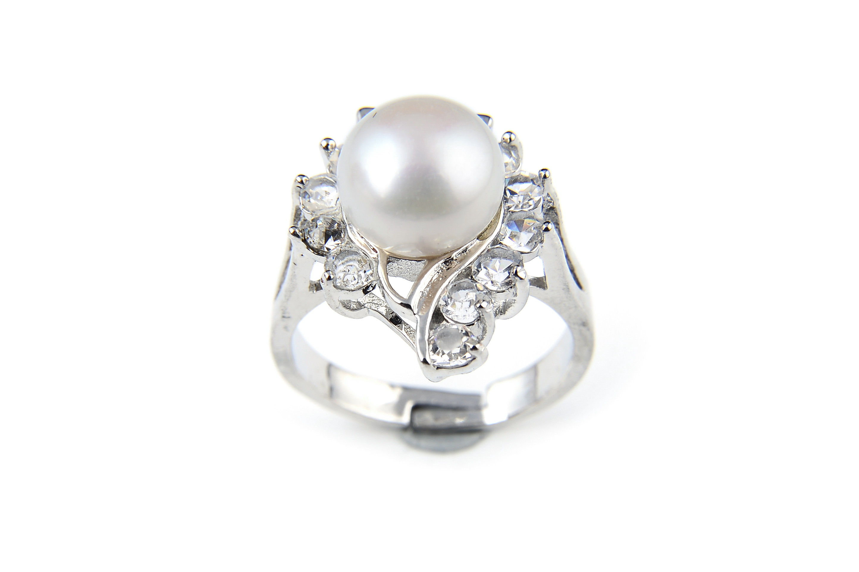 10mm AAA White Freshwater Cultured Pearl Diamond CZ Ring - Various sizes -rg45