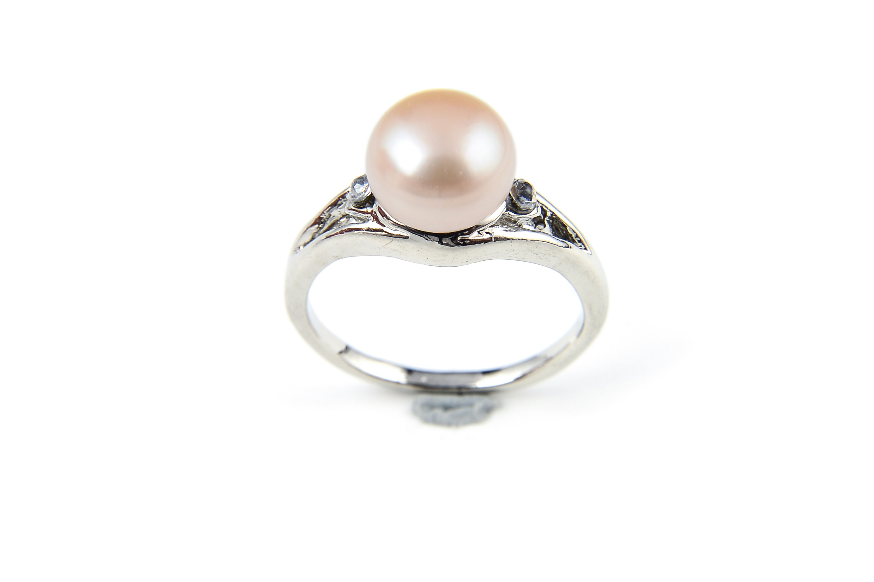 9mm AAA Pink Freshwater Cultured Pearl Diamond CZ Ring - Various sizes -rg51