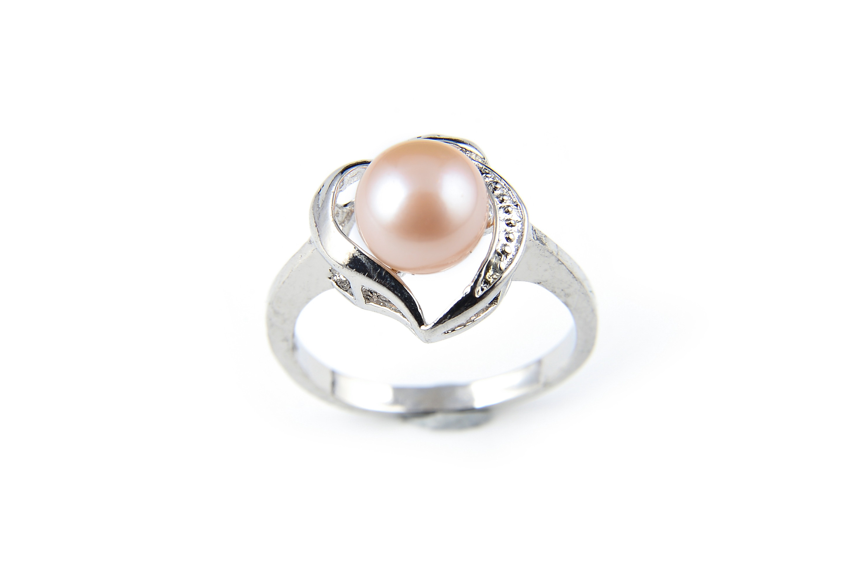 8.5mm AAA Pink Freshwater Cultured Pearl Heart Ring - Various sizes -rg53