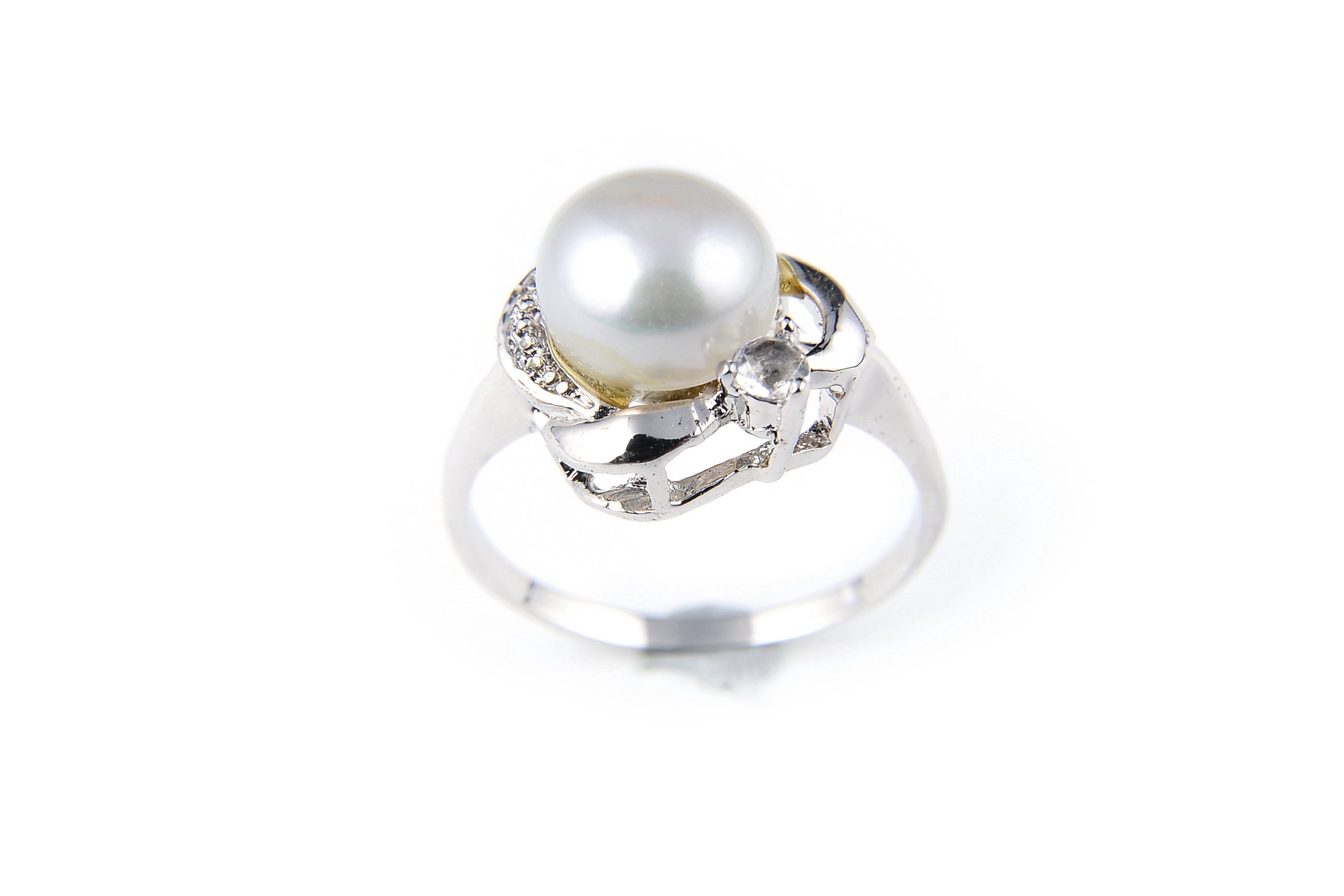 9.5mm AAA White Freshwater Cultured Pearl Crystal Ring - Various sizes -rg55