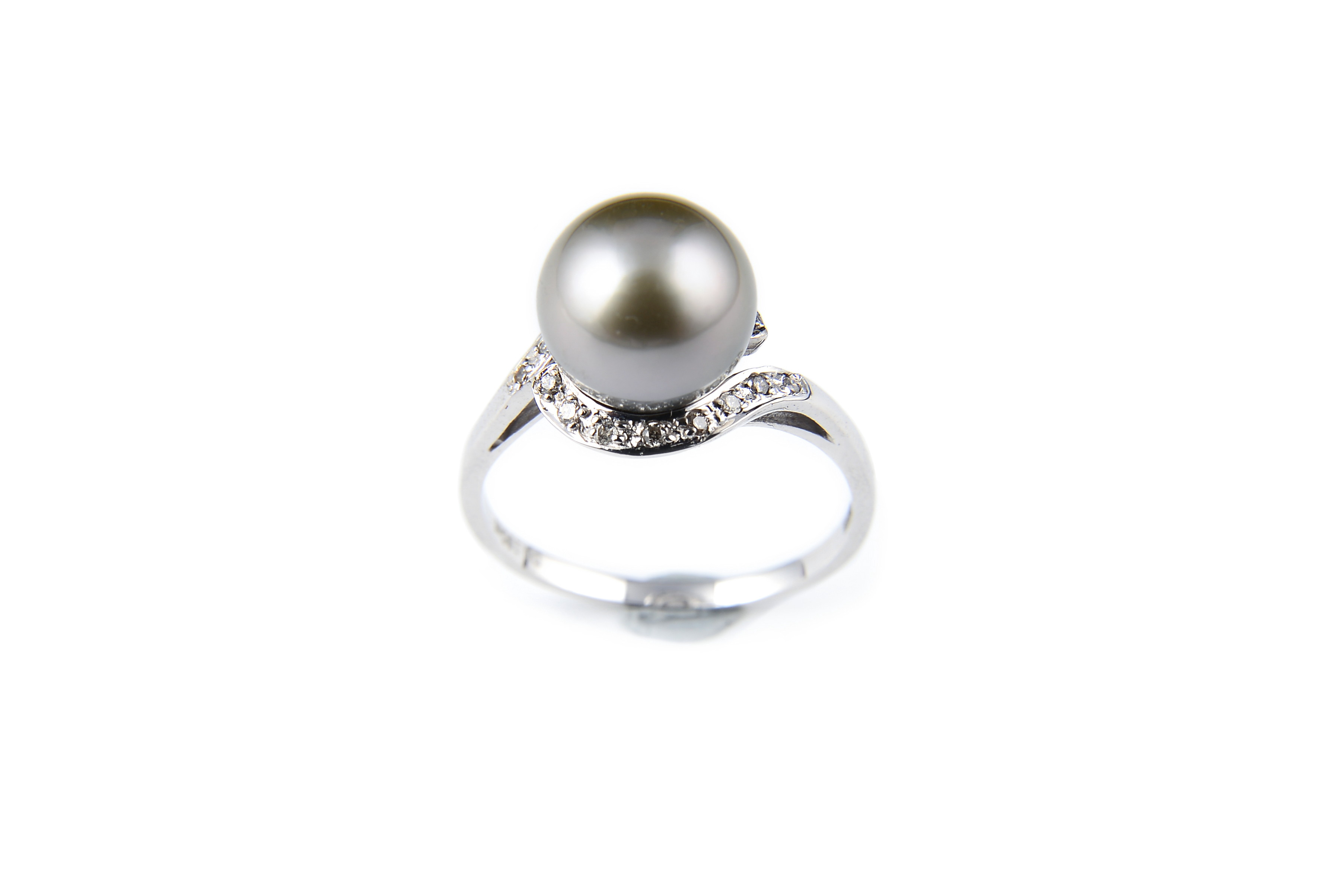 10.2mm AAA+ Gem Quality Black Tahitian Pearl Diamond Ring -rg6