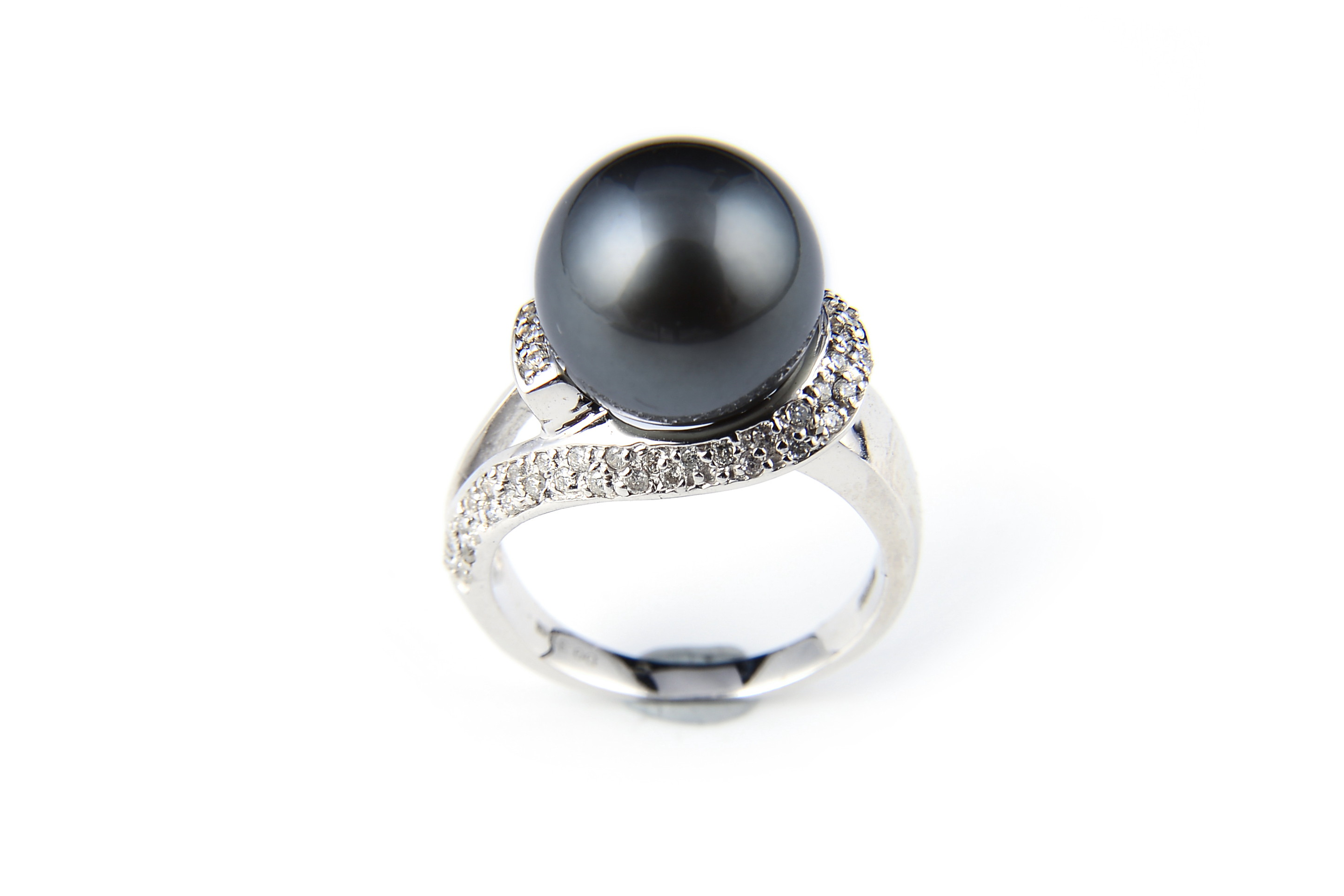 11mm AAA+ Gem Quality Black Tahitian Pearl Ring W/ Diamonds -rg9