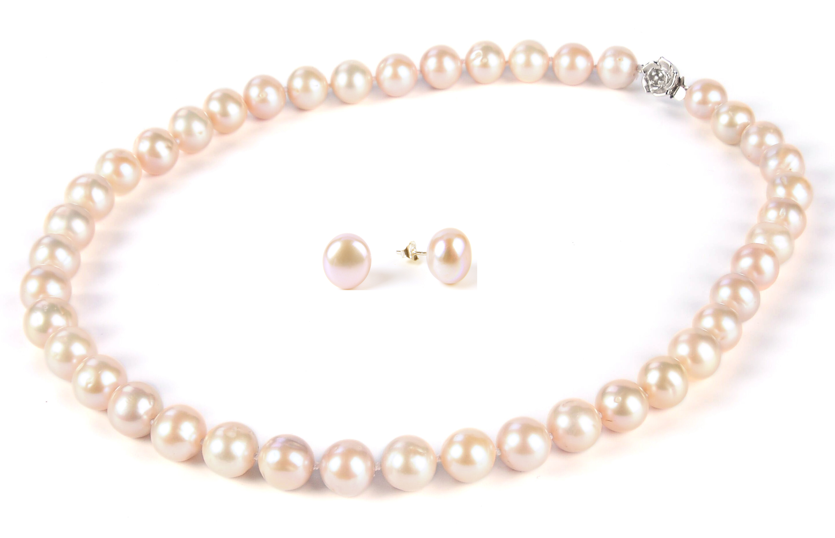 Freshwater Pearl Set 10 Mm Lavender Freshwater Pearl Necklace