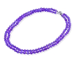 Two Row 6.5mm Round Natural Brazil Amethyst Bead Necklace -nk-am7