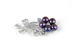 Freshwater Pearl Crystal Flower Brooch - various colors - bh1