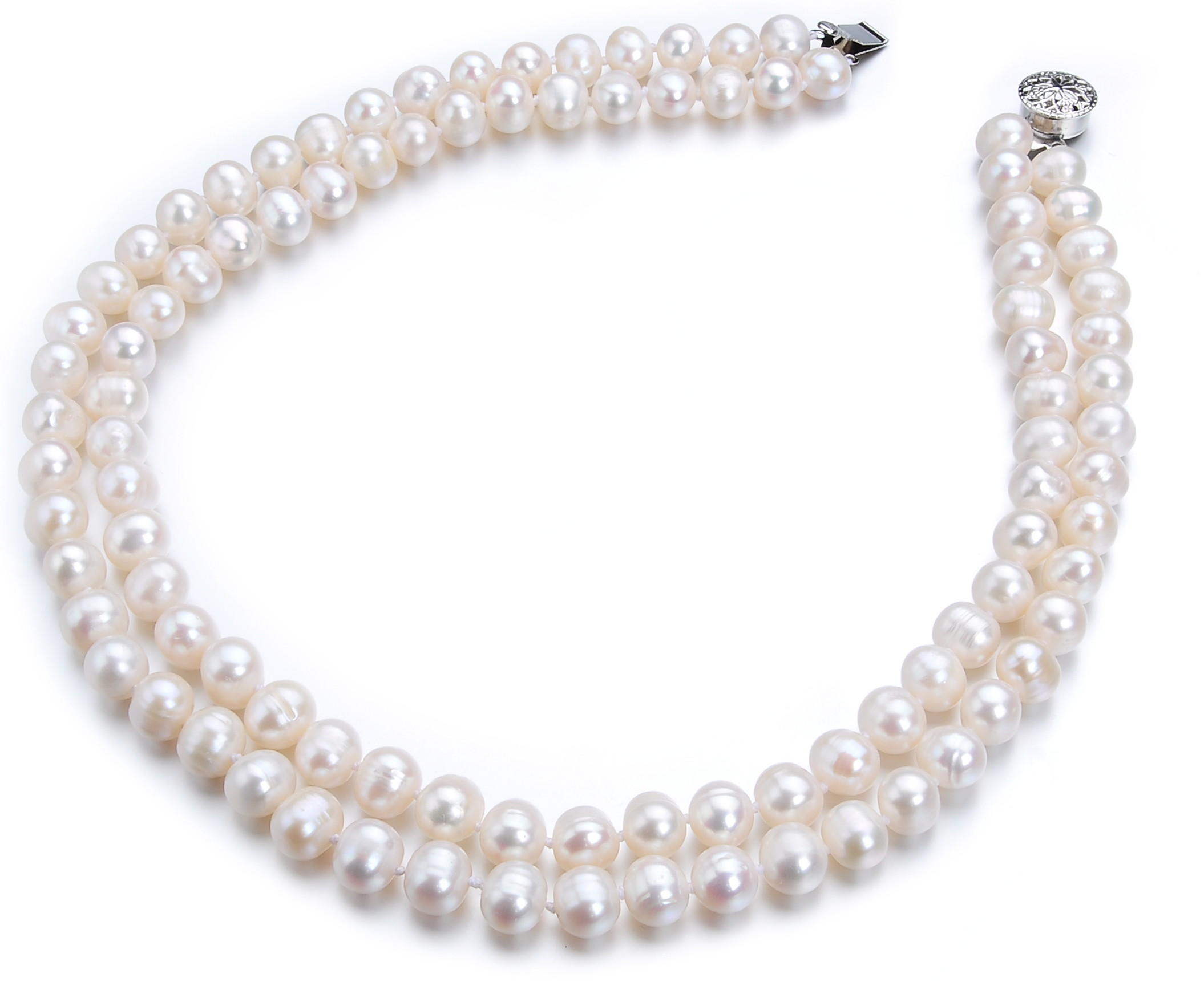 8 mm Two Strand Freshwater White Pearl Necklace -nk166
