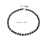 9.5 - 10.5mm Dyed Black AAA- South Sea Pearl Necklaces Strands Certified - NT1