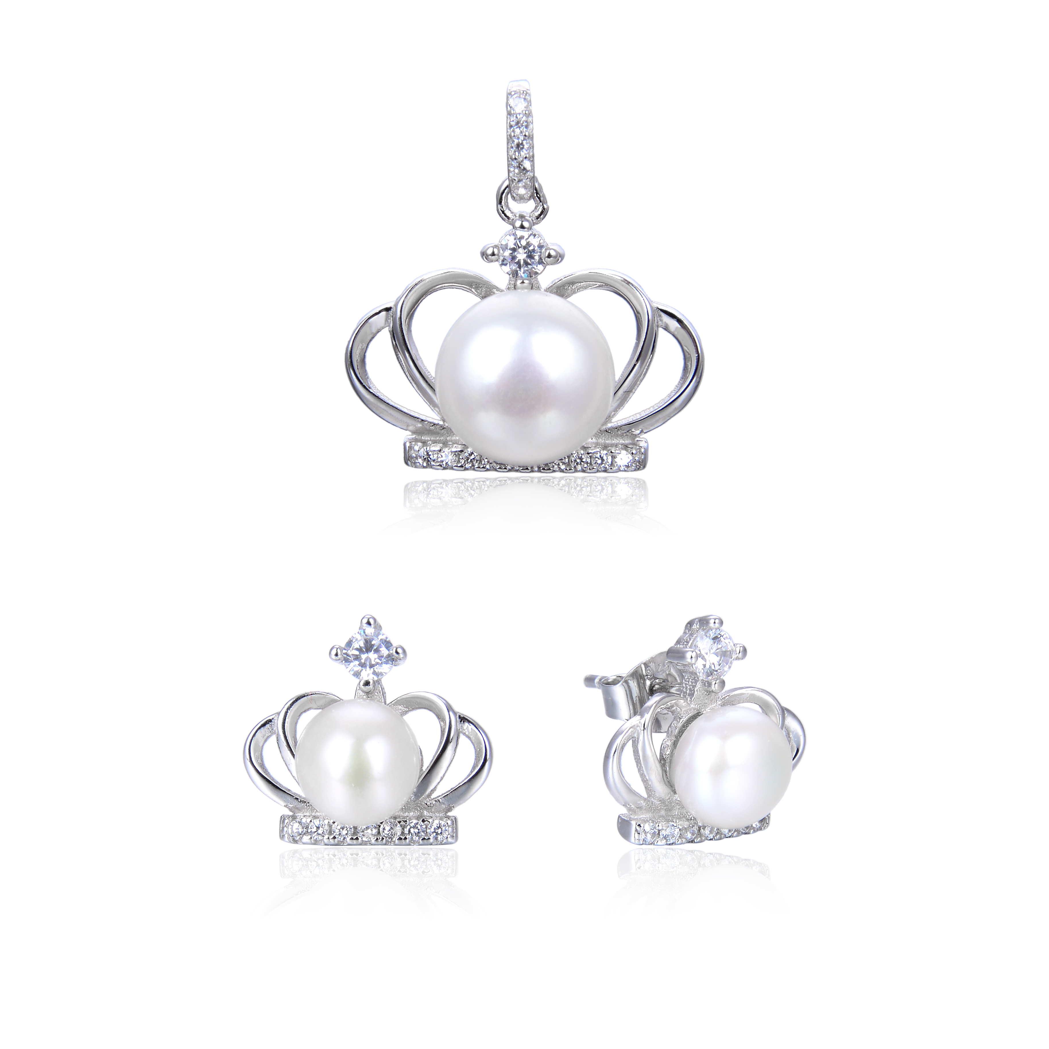 White Gold Plated 925 Silver White Freshwater Pearl Diamond CZ Pendant Earring Set -ne12