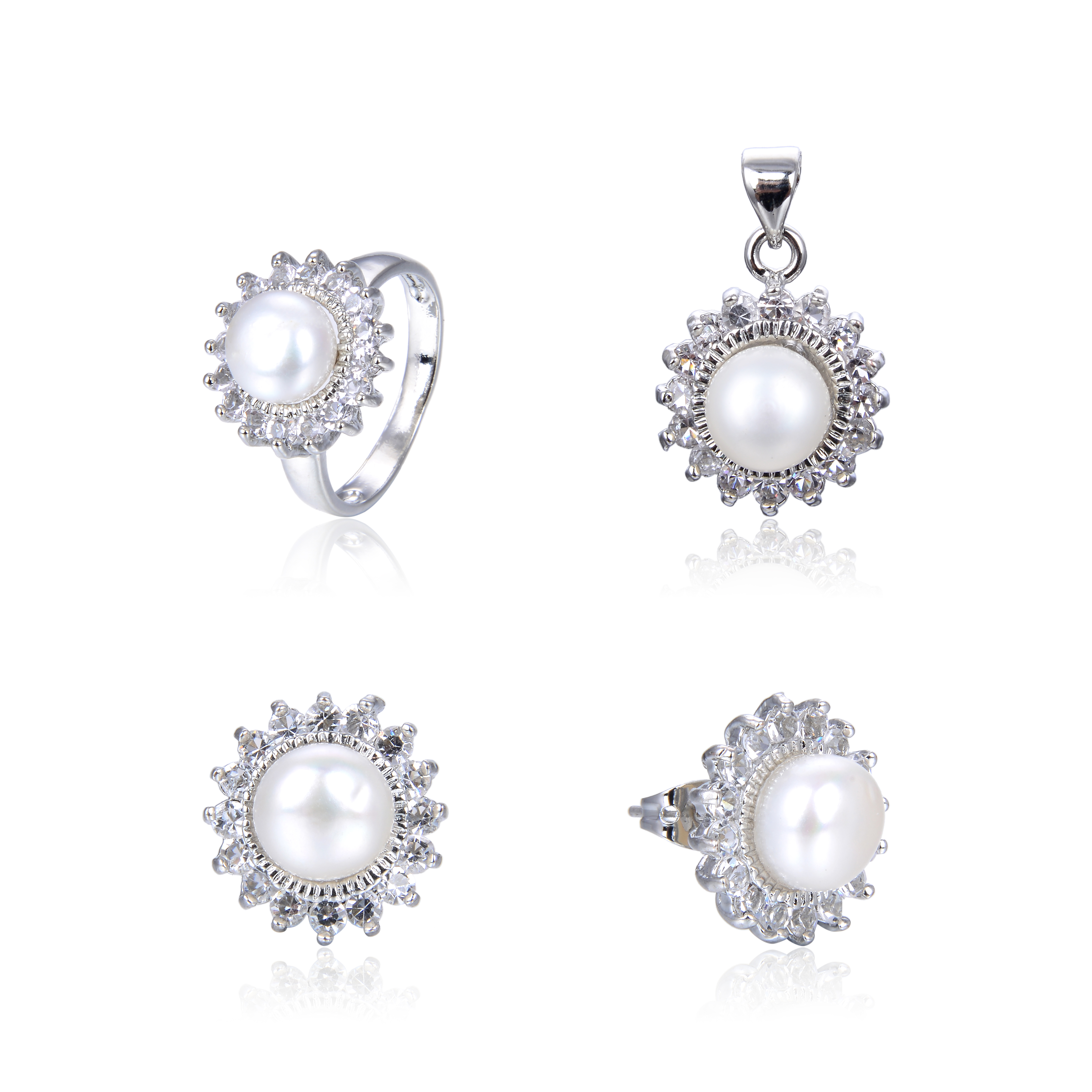 White Gold Plated White Freshwater Pearl Diamond CZ Ring Pendant Earring Set -ne13