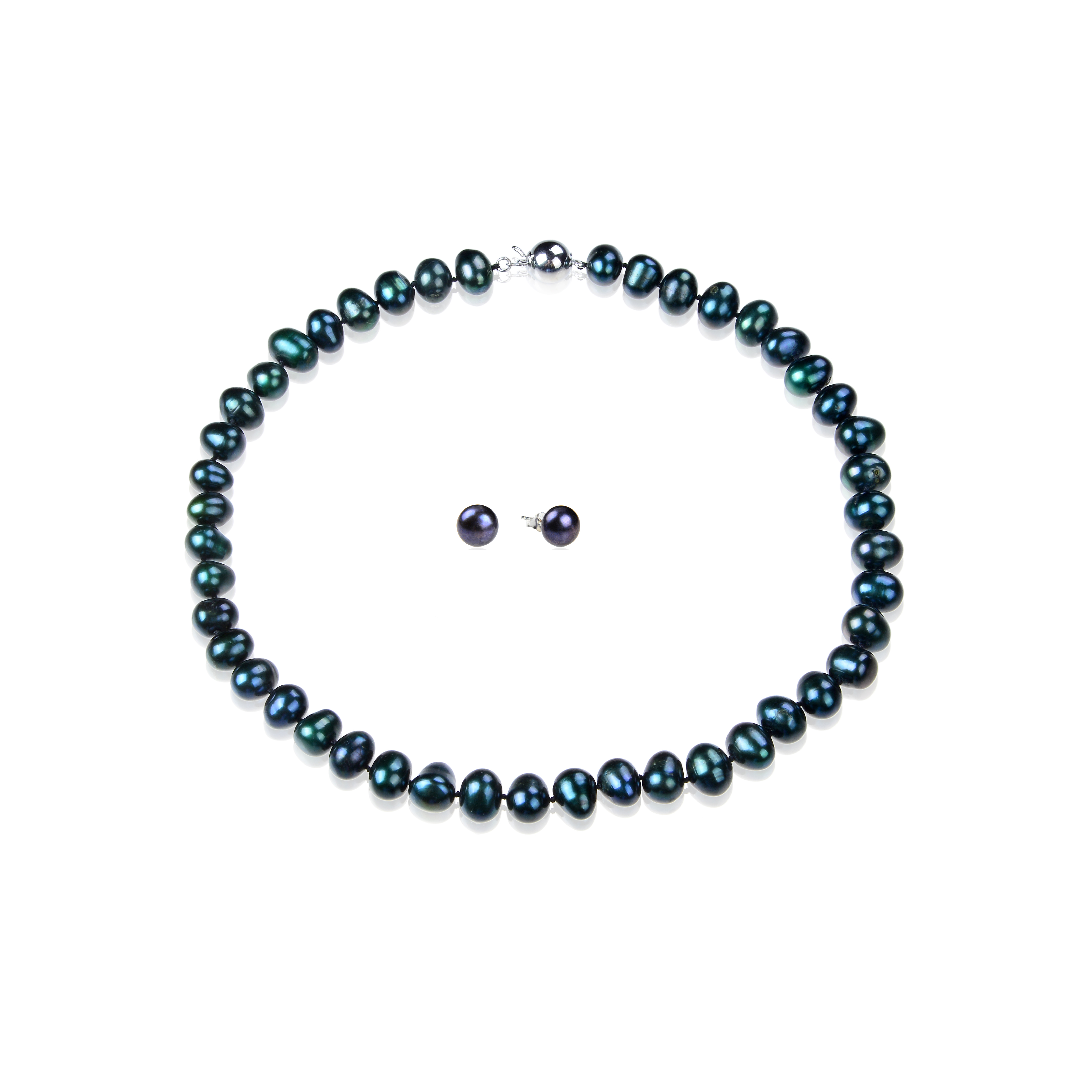 10mm Peacock Blue Overtone Black Freshwater Pearl Necklace Earring Set -ne15