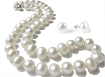 10.5 mm Lustrous  White Freshwater Pearl Necklace Earrings Set -ne1