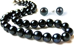 10.5 mm AAA- Lustrous Black  Freshwater Pearl Necklace Earrings Set -ne2