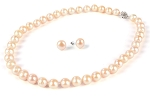 10-11 mm Lustrous  Pink Freshwater Pearl Necklace Earrings Set -ne3