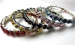 5 Pieces of Single Row Austrian Crystal Bracelets - Various colors - f-br3-5a
