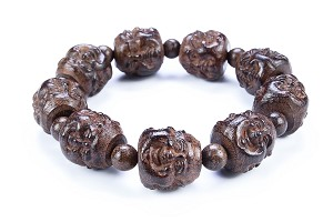 20mm Hand Carved Agarwood Eaglewood Chenxiang Beaded Bracelet (???) - br-cx6