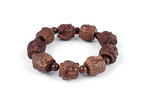 20mm Hand Carved Agarwood Eaglewood Chenxiang Beaded Bracelet Kwan-yin - br-cx7