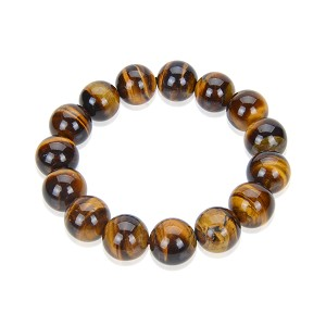 15mm Natural Tiger Eye Elastic Bracelet  - br-te1