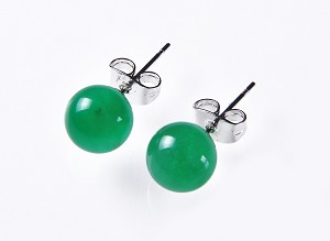 8.5 mm Green Malay Jade Stud Earrings  - er-jd1