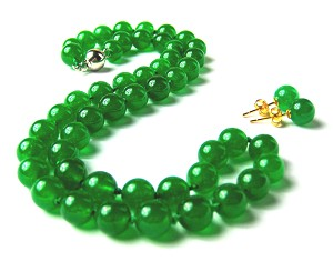 8.5mm Round Malay Green Jade Necklace Earring Set -ne-jd1