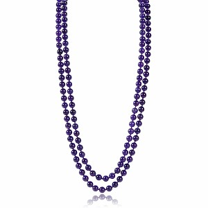 "52"" Natural Brazil Amethyst Strand Rope Necklace -nk-am11"
