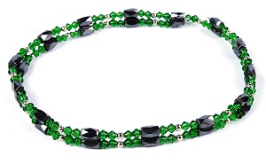 "28"" Open Ended Versatile Green Crystal Magnetic Bead Necklace  -nk-cs1"
