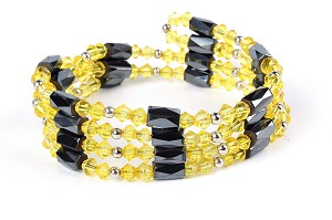 "28"" Open Ended Versatile Yellow Crystal Magnetic Bead Necklace  -nk-cs3"