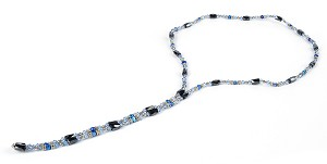 "35"" Open Ended Versatile Blue Crystal Pearl Magnetic Bead Necklace  -nk-cs4"