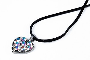 Vintage Crystal Leather Cord Heart Pendant Necklace  -nk-fa12