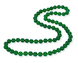 34' Green Round Malay Jade Bead Strand Opera Necklace -nk-jd11x