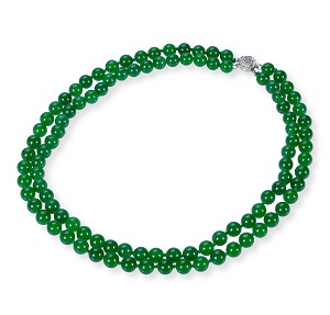 8mm Two Strand Green Round Malay Jade Necklace -nk-jd6